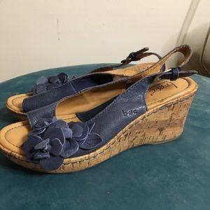 B.O.C. Size 7 cork wedge blue flower sandal